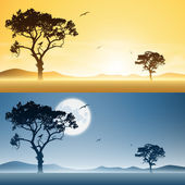 Day and Night Landscapes — Stock Vector