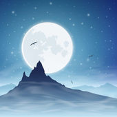 Mountain and Moon — Stock Vector