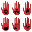 Attention icons for laboratory - Stock Vector