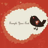 The image with hearts and bird — Stock Vector