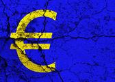 Cracked Euro symbol — Stock Photo