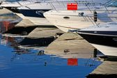 Motorboats and yachts for sale — Stock Photo