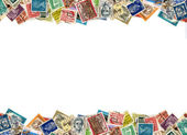 Postage stamps border — Stock Photo