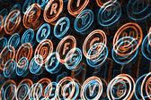 Neon typewriter keys close up — Stock Photo