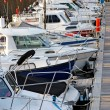 Motorboats and yachts moored in marina — Stock Photo #30858685