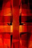 Cruz de vintage religiosa vermelha fundo — Foto Stock