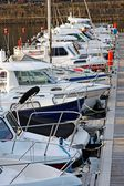 Motorboats and yachts moored in a marina — Stock Photo