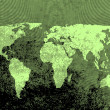 Green grunge world map — Stock Photo