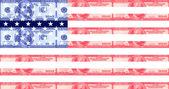 Hundred dollar bill american flag — Stock Photo