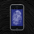 Smartphone with fingerprint wallpaper — Stock Photo