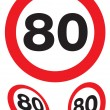 Stock Photo: Eighty miles per hour speed signs
