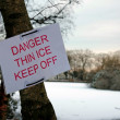Danger thin ice sign — Stock Photo #30968461