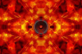 Audio speaker on a groovy background — Stock Photo