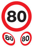 Eighty miles per hour speed signs — Stock Photo