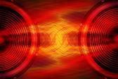 Red audio speakers music background — Stock Photo