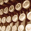 Antique typewriter keys close up — Stock Photo