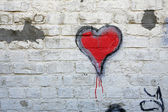 Red heart grafitti — Stock Photo