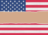 USA wrapping paper torn through the centre — Stock Photo