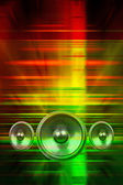 Music speakers and party lights — Stockfoto