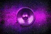 Purple grunge music speaker — Stok fotoğraf