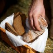 Breaking loaf of bread - Stock Photo