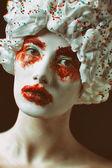 Lady cupcake no preto — Foto Stock