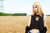 Blond girl in the fields — Stock Photo