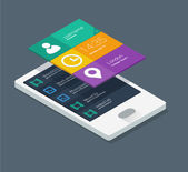 Mobile application concept in flat colors and isometric design — Stock Vector