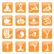 Yoga_spa_massage_buttons_icons — Stock Vector