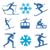 Iconos de deportes de invierno — Vector de stock