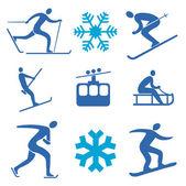 зимние виды спорта значки — Cтоковый вектор