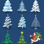 Christmas trees and Santa Claus. — Stock Vector