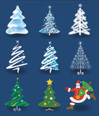 Christmas trees and Santa Claus. — Stock Vector
