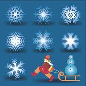 Schneeflocken und mädchen mit schneemann. — Stockvektor