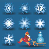 Snow flakes and girl with snowman. — Stock Vector