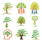 And trees icons — Stock Vector