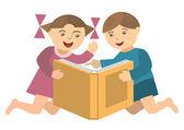 Children_with_book — Stock Vector