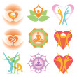 Royalty-Free Stock Imagen vectorial: Yoga_health_icons_symbols