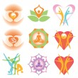 yoga_health_icons_symbols — Cтоковый вектор