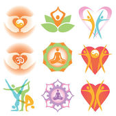 Yoga_health_icons_symbols — Stock Vector