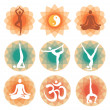 Yoga positions icons backgrounds — Stock Vector #19510825