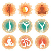 Yoga positions icons backgrounds — Stock Vector