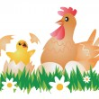 Easter Chicken, Hen and eggs. — Stock Vector