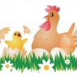 Easter Chicken, Hen and eggs. — Stock Vector