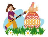 Girl painting easter egg — Stock Vector