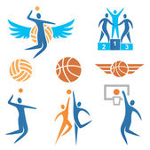 Volleyball Basketball Icons — Stock Vector
