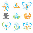 Spa massage health icons - Stock Vector
