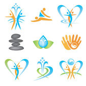 Spa massage health icons — Stock Vector