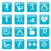 Blue Fitness icons buttons — Stock Vector