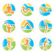 Royalty-Free Stock Vector Image: Colorful icons yoga fitness